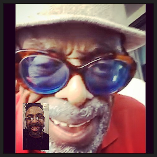 """Omar on Facetime with Leon Ware, letting him know how well """"Give My love"""" is being well received."""